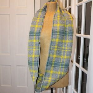 yellow, green and grey plaid wool infinity scarf